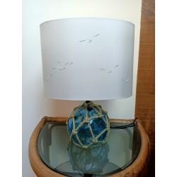 Luminaire Abat-jour Ovale 30cm + Pied petite boule marine bleu éteint